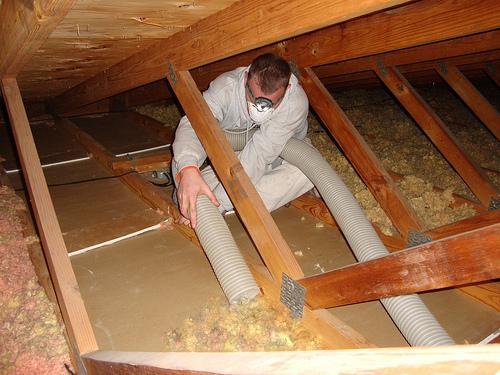 Greene Solutions providing attic insulation removal services for a home in Columbus OH
