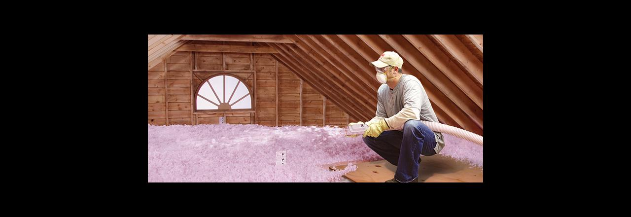 Greene Solutions, Blowing in insulation in attic, OH